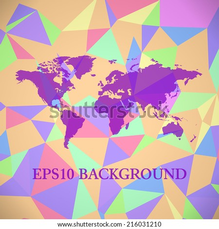 Vector Polygonal World Map background - stock vector