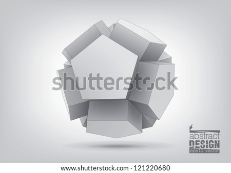 Vector polyhedron with pentagonal extrude faces for graphic design. You can change colors - stock vector