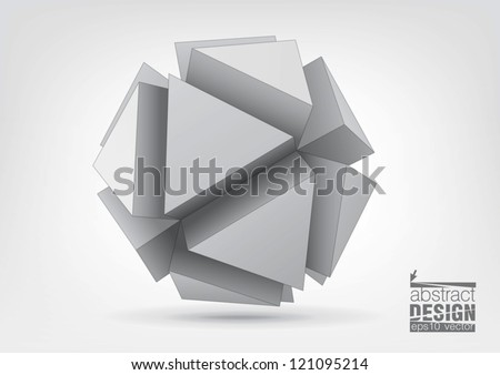 Vector polyhedron with triangular extruded faces for graphic design. You can change colors - stock vector
