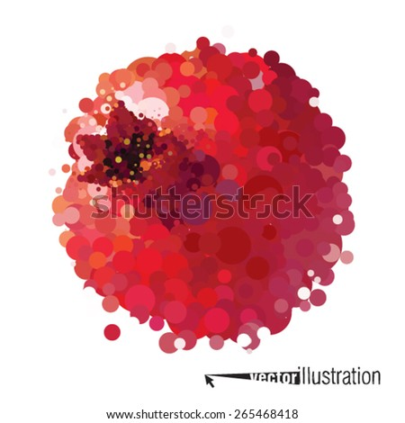Vector pomegranate that consists of circles - stock vector