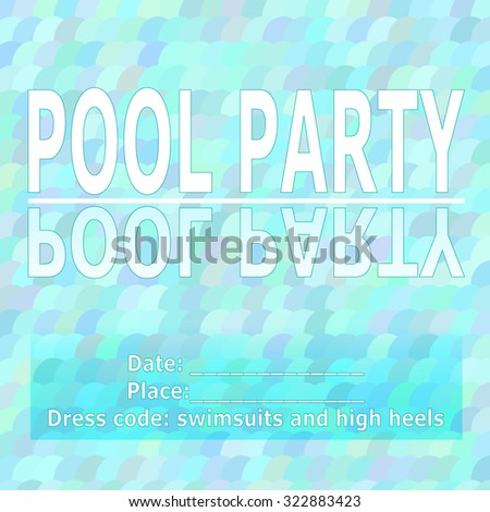 vector pool party invitation template place stock vector 322883423