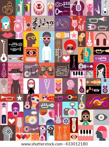 Vector pop-art collage of various images with a musical and entertainment themes. - stock vector
