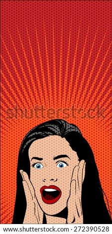 Vector Pop Art Comics Shocked Woman on Red Background. Dotted Pattern and Solid Color are Separate Layers.