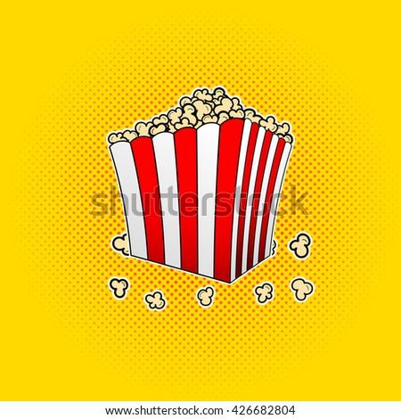 Vector popcorn box in pop art style. Vector paper bag full of popcorn. Popcorn in box on comic background in pop art style. Vector illustration of popcorn box. - stock vector