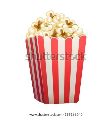 Vector popcorn box isolated - stock vector