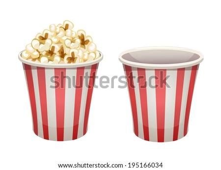 Vector popcorn bucket isolated. Full and empty - stock vector