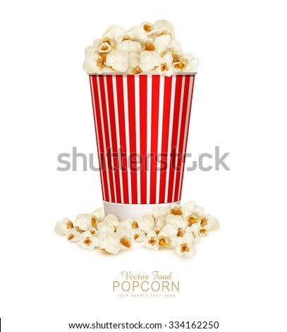 vector popcorn in striped bucket  isolated on white background - stock vector