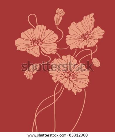 vector poppies on dark red background - stock vector