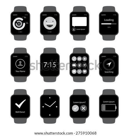 Vector Popular Smart Watch Icons  - stock vector