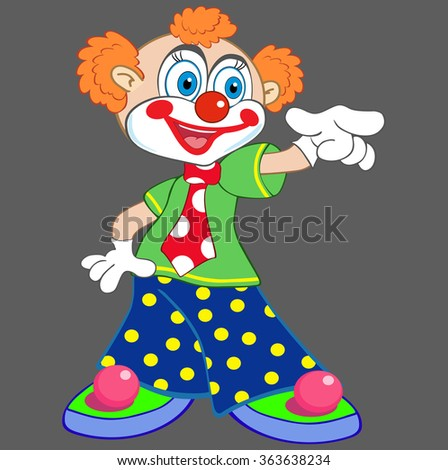 Vector portrait of a cheerful clown showing finger - stock vector