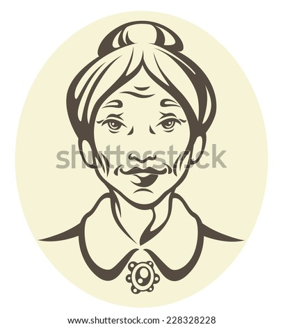 vector portrait of a grandma - stock vector