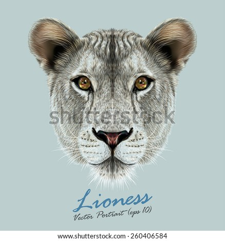 Vector Portrait of a Lioness on Blue background. Cute and beautiful big cat face. - stock vector