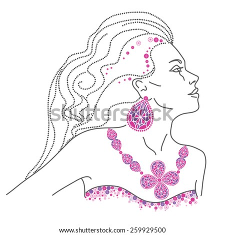 Vector portrait of a luxury stylish girl with beautiful hair wearing jewelry - stock vector