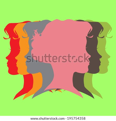 Vector portrait of a woman's face in different colors. - stock vector