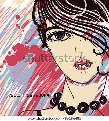 vector portrait of a young girl on a colorful background - stock vector