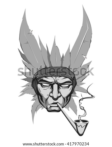Vector portrait of an Indian with feathers on the head pipe smoking full face - stock vector