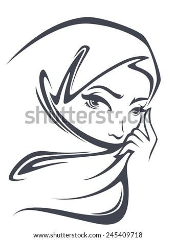 vector portrait of beautiful arabian woman - stock vector