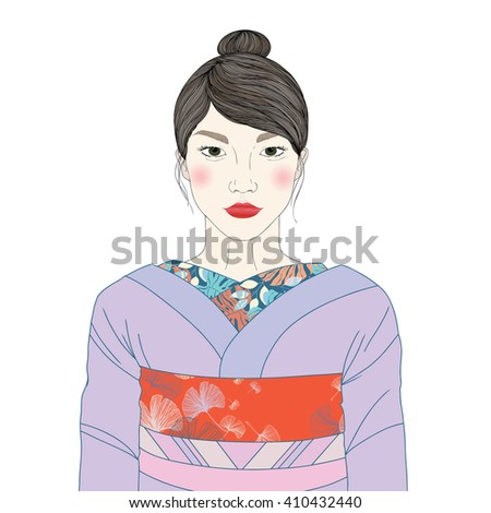 Vector portrait of beautiful Asian Japanese woman in traditional costume kimono. - stock vector