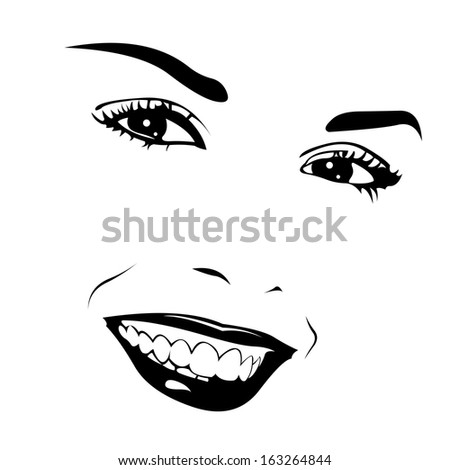 Vector portrait of beautiful smiling girl. Easy editable illustration. - stock vector