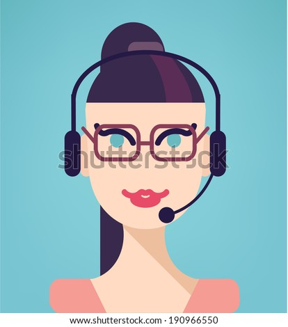 Vector portrait of happy smiling cheerful support phone operator in headset, isolated on blue background. Modern, simple, flat and trendy business icon - stock vector