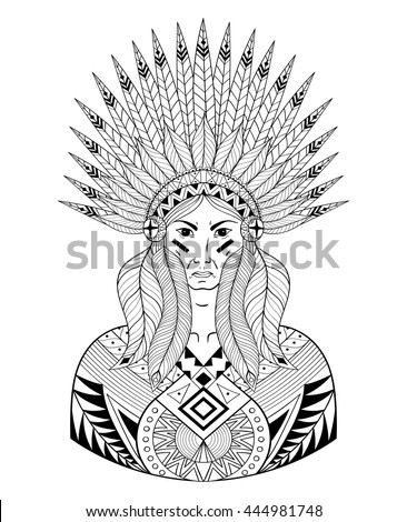 Vector Portrait of Indian head with zentangle War Bonnet. Decorative native zentangle man with feathers for adult coloring page, Tattoo art, ethnic patterned t-shirt print. Doodle Illustration design. - stock vector
