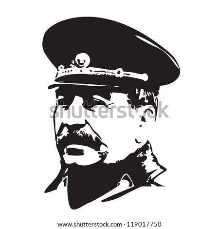 Vector portrait of Joseph Stalin in black and white - stock vector