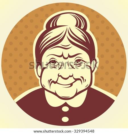 vector portrait of lovely grandmother - stock vector