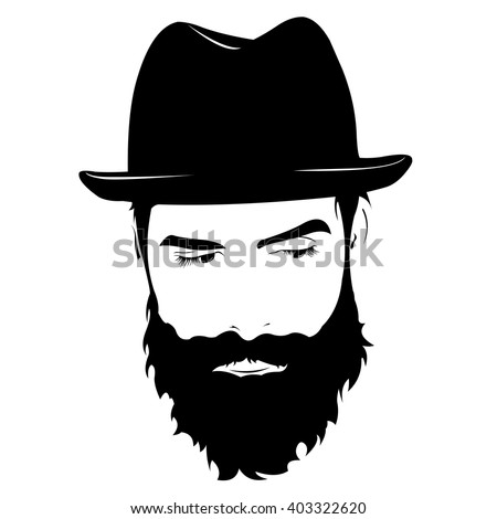 Vector portrait of serious bearded man wearing hat looking away. - stock vector
