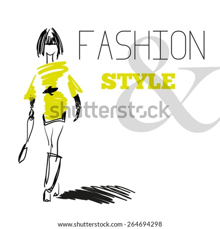 Vector portrait of stylish girl on white background with text. Fashion illustration.  - stock vector