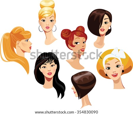 vector portraits of faces girls - stock vector