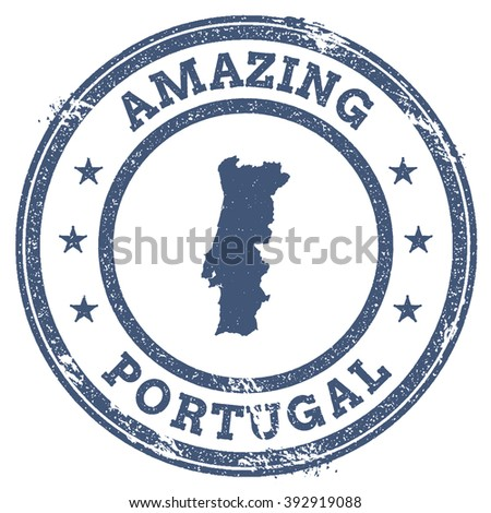 Vector Portugal Stamp. Vintage Amazing Portugal Stamp with Map Outline. Portugal Flag Grunge Round Sticker. - stock vector