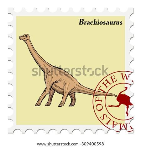 vector, post stamp dinosaur - stock vector