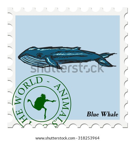 vector, post stamp with blue whale - stock vector