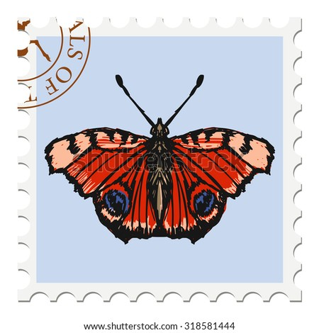 vector, post stamp with butterfly - stock vector