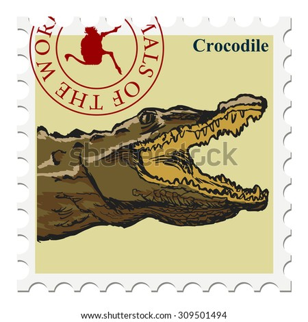 vector, post stamp with crocodile - stock vector
