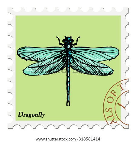 vector, post stamp with dragonfly - stock vector