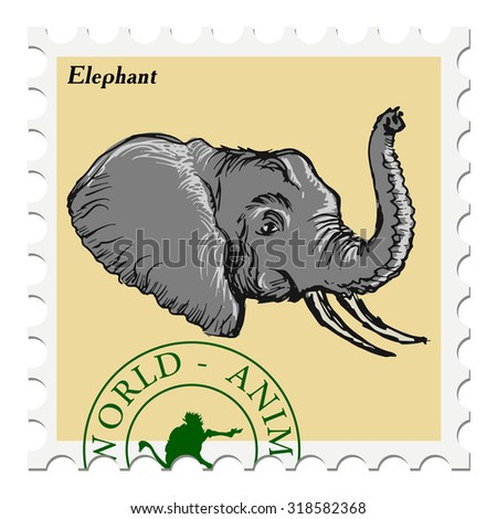 vector, post stamp with elephant - stock vector