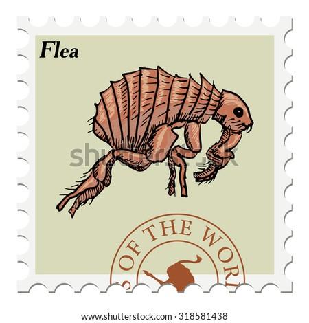 vector, post stamp with flea - stock vector