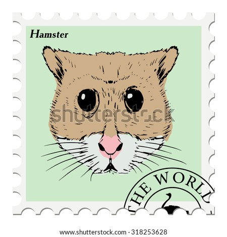 vector, post stamp with hamster - stock vector