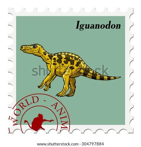 vector, post stamp with iguanodon, dinosaur, Jurassic motive - stock vector