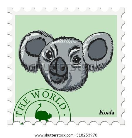 vector, post stamp with koala - stock vector