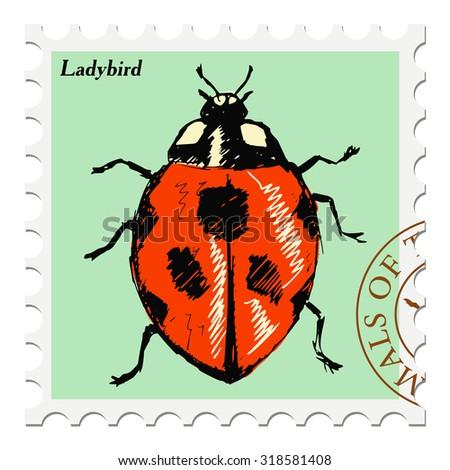 vector, post stamp with ladybird - stock vector