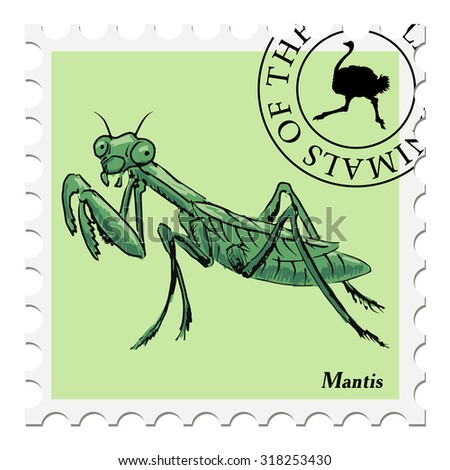 vector, post stamp with mantis - stock vector