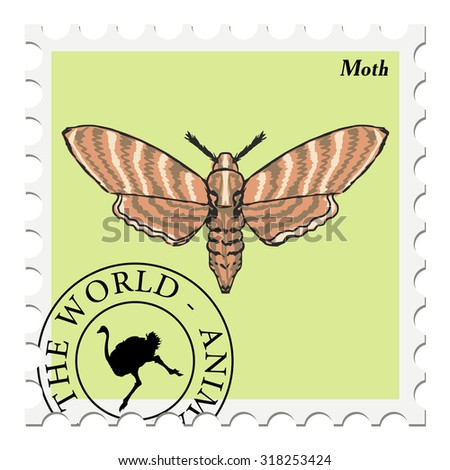 vector, post stamp with moth - stock vector