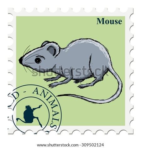 vector, post stamp with mouse - stock vector