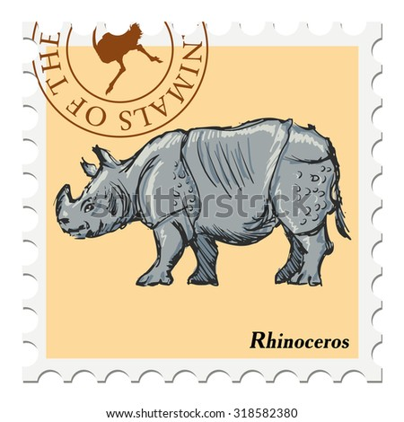 vector, post stamp with rhinoceros - stock vector
