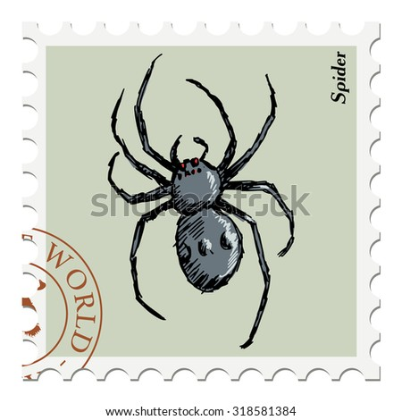 vector, post stamp with spider - stock vector