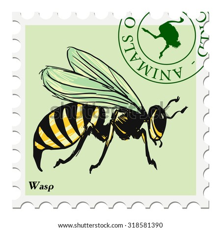 vector, post stamp with wasp - stock vector