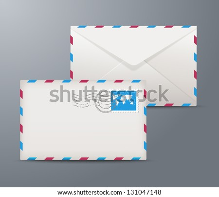 Vector postage envelope with stamps