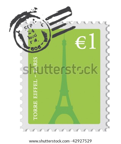 Vector postage stamp from Paris, France - stock vector